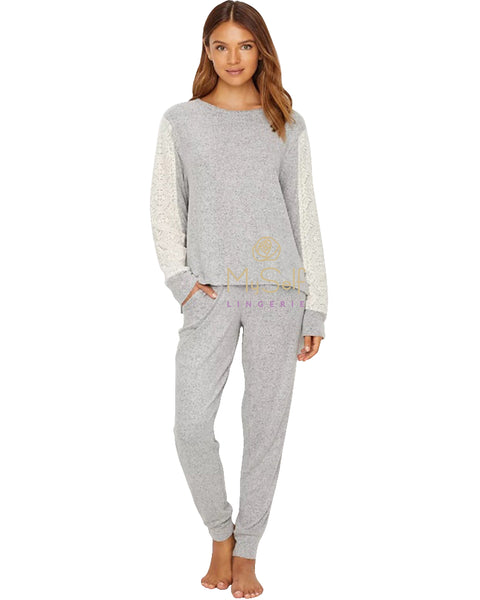 Flora Nikrooz Q80766 Harbor Lace Trim Cozy Fleece Pajamas MYSELFLINGERIE.COM