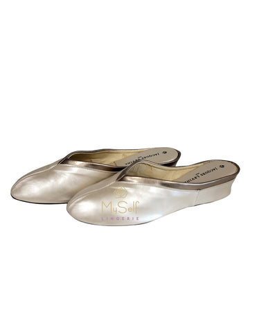 Jacques Levine 4640 Champagne Leather Wedge Slipper MYSELFLINGERIE.COM