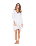 Vanilla Night and Day 3140 Lovely Embroidered Applique' Nightshirt myselflingerie.com