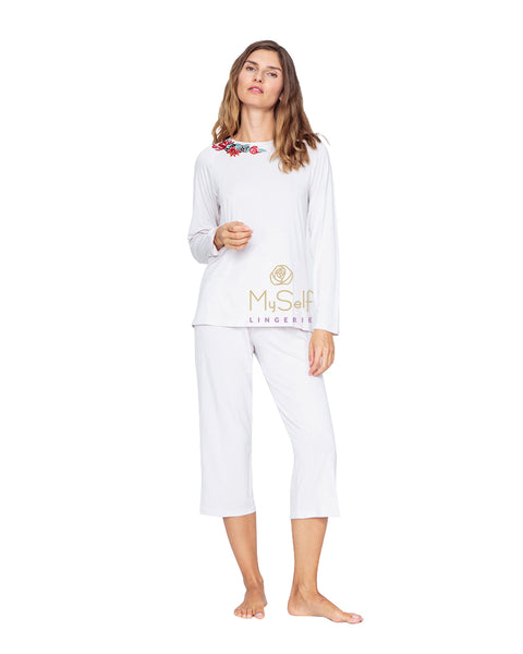 Vanilla Night and Day 3139 Lovely Embroidered Applique' Pajamas myselflingerie.com