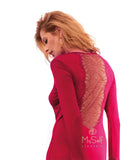 Vanilla Night and Day 3116 Romance Lace Back Velour Nightshirt myselflingerie.com