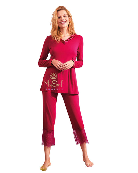 Vanilla Night and Day 3115 Romance Lace Back Velour Pajamas MYSELFLINGERIE.COM