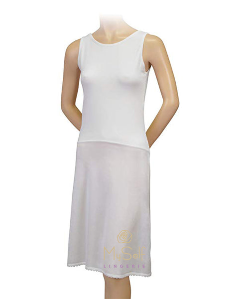"Gemsli FK30837"" Cotton Top Nylon Bottom Full Slip myselflingerie.com"