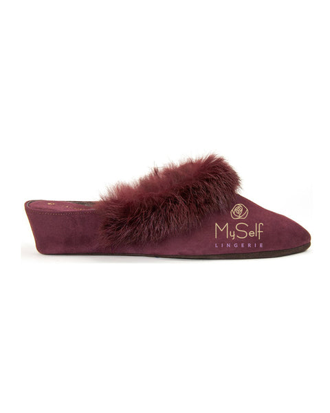 Jacques Levine 18638 Suede and Fur Wedge Slipper MYSELFLINGERIE.COM