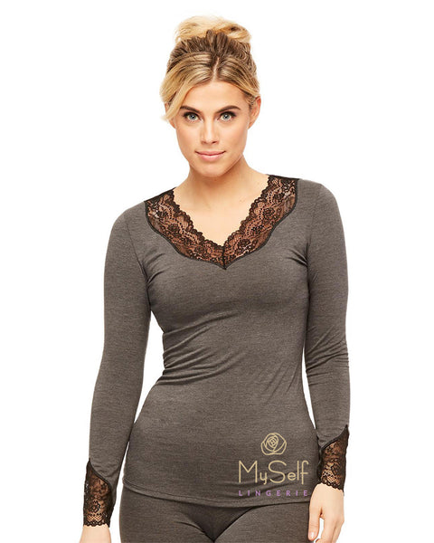 BodyBliss 9401 BodyBliss Long Sleeve Pajama Top MYSELFLINGERIE.COM