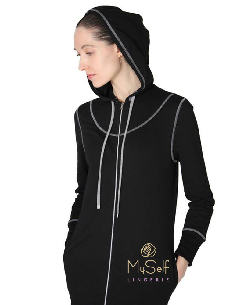 Me Moi CNL00150 Hooded Zip-Up Cotton Robe myselflingerie.com
