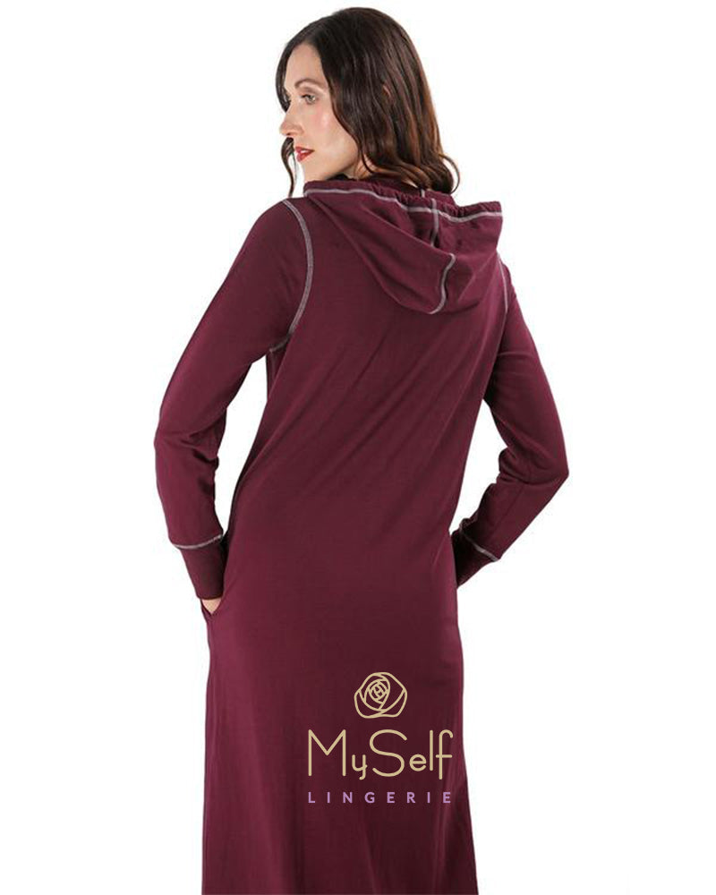 Me Moi Hooded Zip-Up Cotton Robe