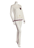 Pierre Balmingo Paris 03-4612A White Pajamas with Navy and Red Trim myselflingerie.com