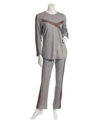 Pierre Balmingo Paris 03-4626 Embroidered Pattern Heather Grey Pajamas myselflingerie.com