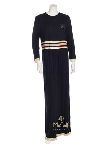 Pierre Balmingo Paris 05-4288 Navy Nightgown with Gold Satin Trim myselflingerie.com