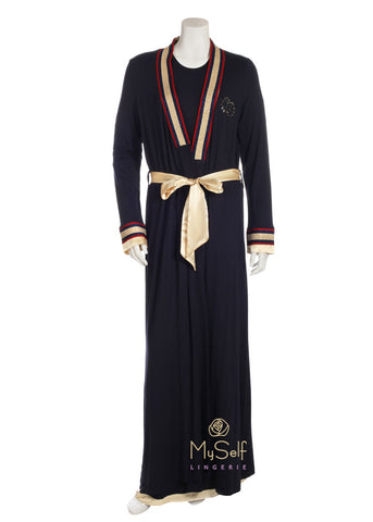 Pierre Balmingo Paris 05-4289 Navy Wrap Robe with Gold and Red Trim myselflingerie.com