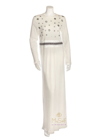 Pierre Balmingo Paris 05-4308 White Rhinestone Polka Dot Nightgown myselflingerie.com