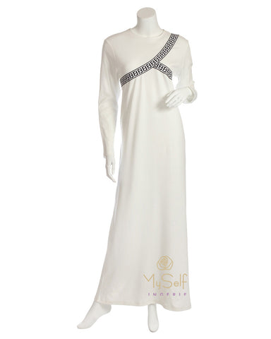 Pierre Balmingo Paris Ribbons Design White Modal Nightgown