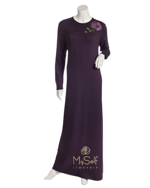 Pierre Balmingo Paris 05-4336-ALL Aubergine Nightgown with Embroidered Flower myselflingerie.com