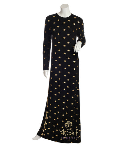 Pierre Balmingo Paris 05-4340-1LL Gold Star Print Black Nightgown myselflingerie.com
