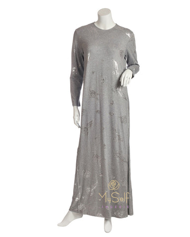 Pierre Balmingo Paris 05-4340-ALL Silver Foil Leaves  Heather Grey Modal Nightgown myselflingerie.com