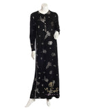 Pierre Balmingo Paris 05-4340-BZLL Silver Floral Design  Black Modal Nightgown myselflingerie.com