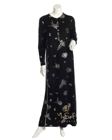 Pierre Balmingo Paris Silver Floral Design  Black Modal Nightgown
