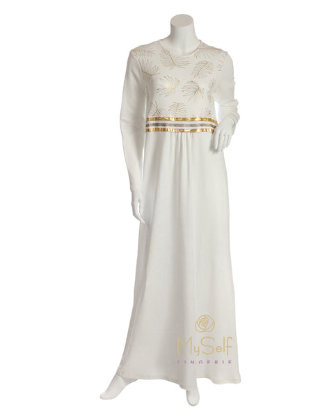 Pierre Balmingo Paris 05-4349-ALL Gold Leaves Accented White Nightgown myselflingerie.com