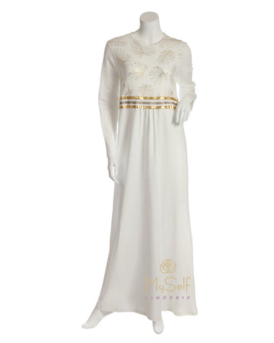 Pierre Balmingo Paris Gold Leaves Accented White Nightgown