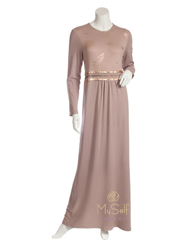 Pierre Balmingo Paris 05-4349-BLL Gold Foil Floral Design Mauve Nightgown myselflingerie.com