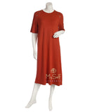 Pierre Balmingo Paris 05-4355-SS Rose Gold Stars Short Sleeve Rust Nightshirt myselflingerie.com
