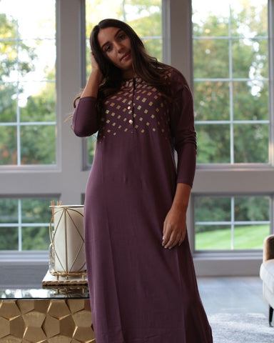 Chicolli CH6758A Plum Wine Geometric Shimmer Button Down Nightgown myselflingerie.com