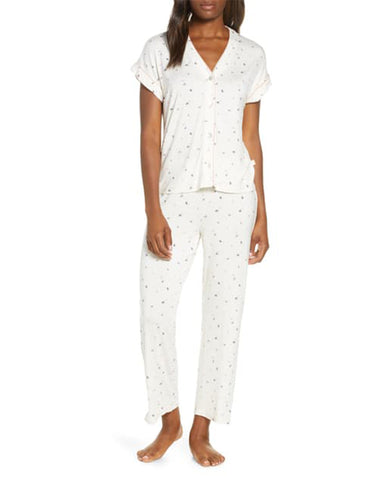 UGG 1108457 Ivory Floral Addi Short Sleeve Pajama Top and Long Pants Set myselflingerie.com