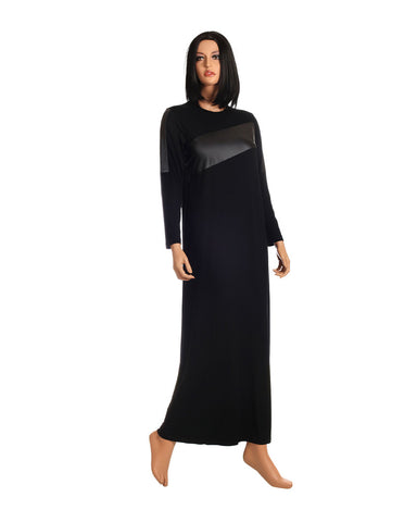 Ellwi 111 Leather Stripe Black Nightgown myselflingerie.com