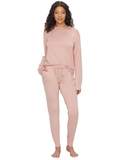 Flora Nikrooz Q80995 Clay Lotus Lace Accent Fleece Lined Pajamas Set MYSELFLINGERIE.COM