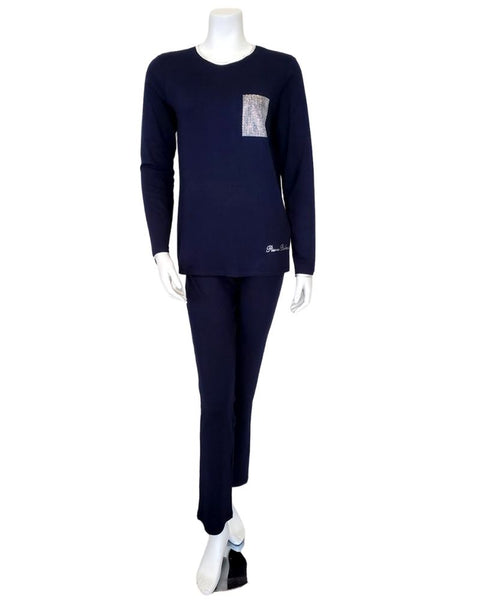 Pierre Balmingo Paris 30-4000 Rhinestone Pocket Navy Modal Pajamas Set myselflingerie.com