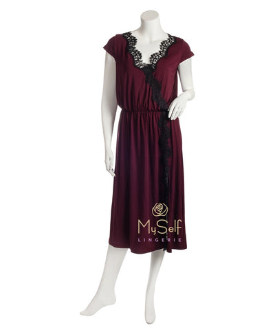 Vanilla Night and Day 3307 Black Lace and Wine Modal Short Sleeve Nightdress myselflingerie.com