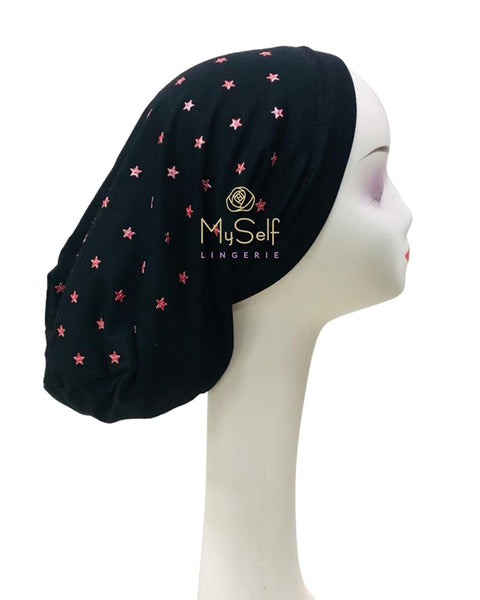 C. Bird CB18 Red Star Studs Black Cotton Beanie Snood myselflingerie.com