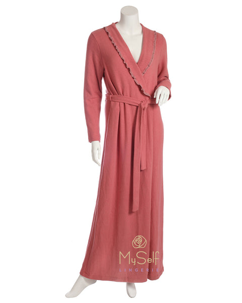 Iora Lingerie 19626C Frilled and Fleece Lined Rose Wrap Robe MYSELFLINGERIE.COM