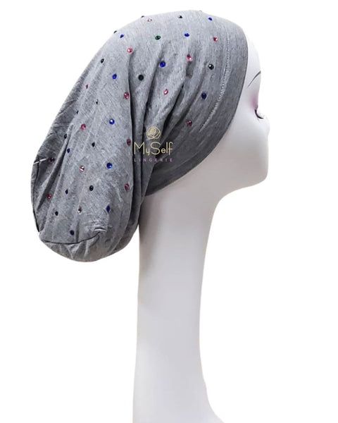 C. Bird Colored Rhinestones Light Grey Cotton Beanie Snood