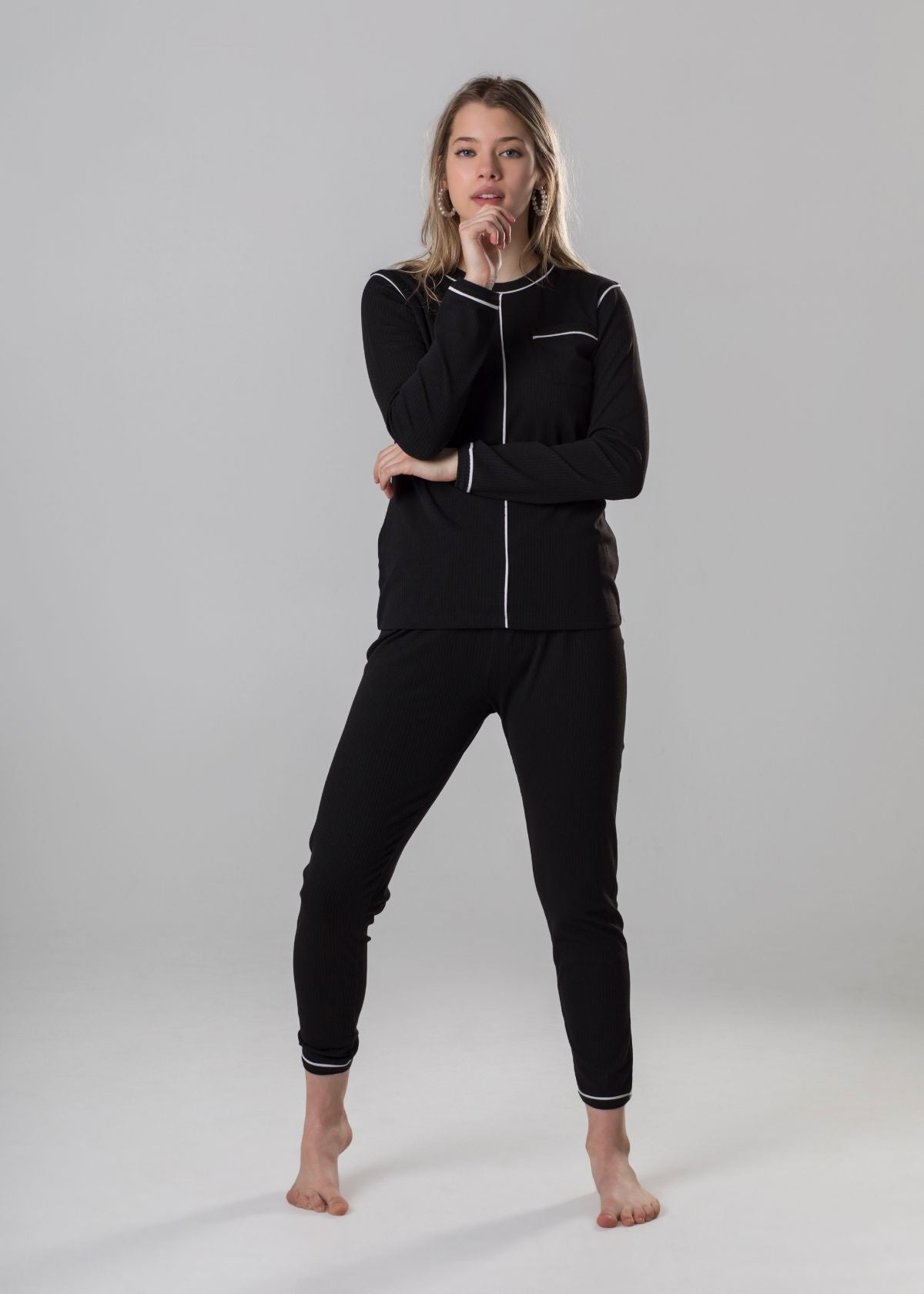 Ellwi Black Ribbed Modal PJ's with White Piping