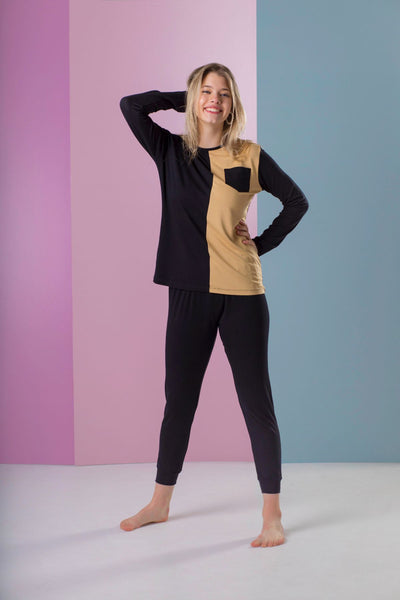 Ellwi Black and Mocha Colorblock Modal Pajamas Set