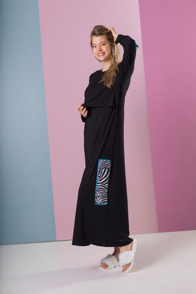 211-N Black Modal Nursing Nightgown with Zebra Printed Patches