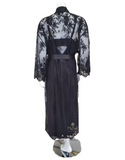 Rya Collection 220X Black Darling Embroidered Lace Robe Plus Sizes myselflingerie.com