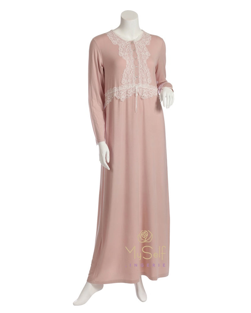 Iora Lingerie 19411C Peach Modal Button Down Nightgown with White Lace myselflingerie.com