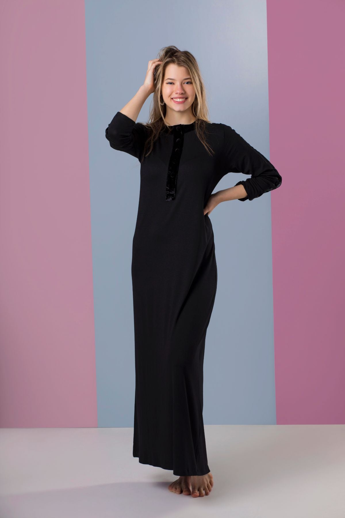 Ellwi Black Cotton Nightgown with Crushed Velvet Trim