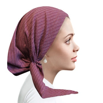 RB5000 Dry Rose/Silver Ribbed Pre-Tied Bandanna