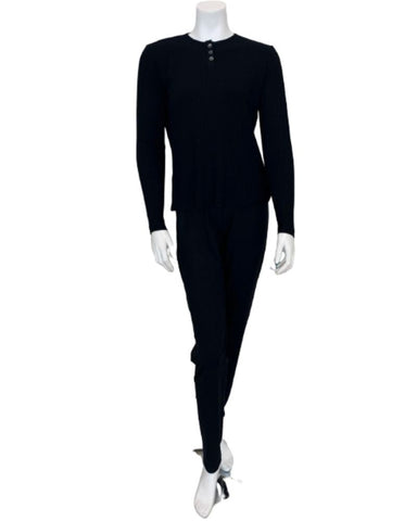 Angelice Black Ribbed Bamboo Modal Pajamas Set
