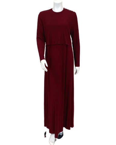 Angelice Wine Ribbed Bamboo Modal Nursing Nightgown