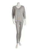 Vanilla Night and Day 3049 Heather Grey V Neck Pajamas myselflingerie.com