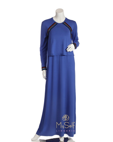 Pierre Balmingo Paris Royal Blue Sparkle Trim Nursing Nightgown