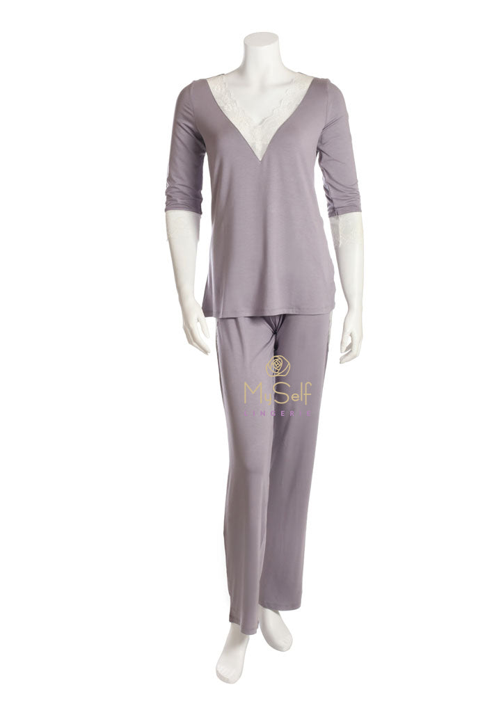Vanilla Night and Day 3205 Lace Lined V Neck Pajamas MYSELFLINGERIE.COM