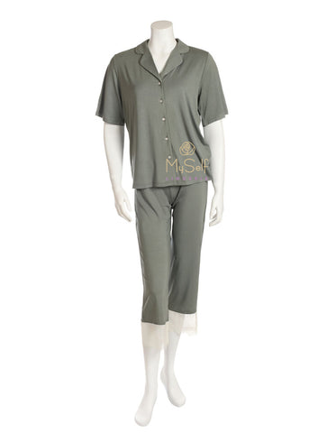 Vanilla Night and Day 3207 Lace  Lined Short Sleeve Button Down Pajamas MYSELFLINGERIE.COM