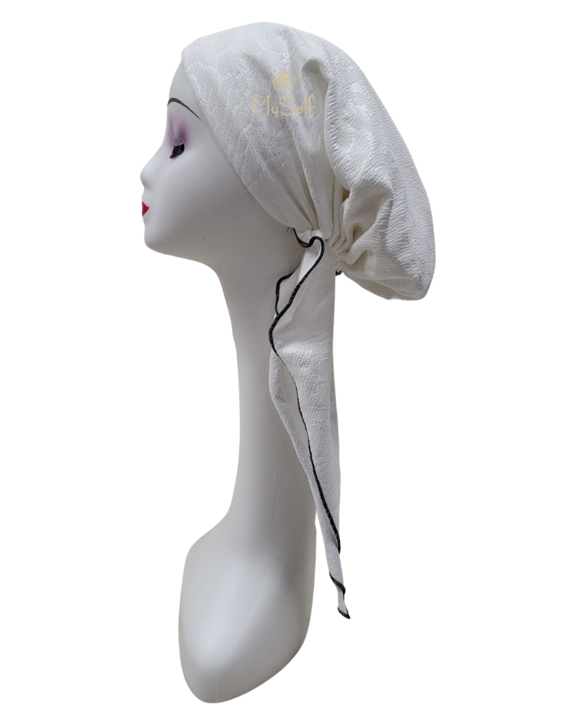 Triple Up White Floral Lined Pre-Tied Bandanna with Black Stitching myselflingerie.com