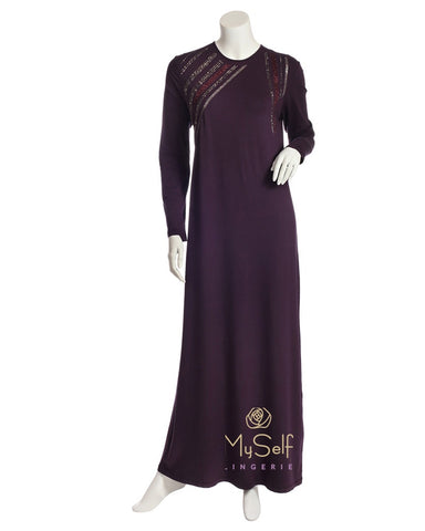 Pierre Balmingo Paris Aubergine Modal Nightgown with Rhinestone Trim
